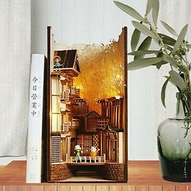 Chinese Village Alley Book Nook - Book Shelf Insert - Bookcase with Light Model