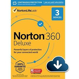 Norton 360 Deluxe 2021 - Antivirus Software for 3 Devices with Auto Renewal - Includes VPN, PC Cloud Backup & Dark Web Monitoring Powered By LifeLock [Download]