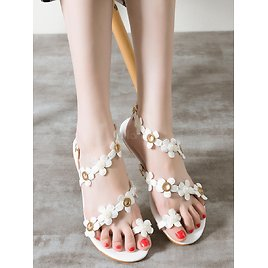 Womens Flat Sandals Toe Loop Flowers Detail Strappy Beach Sandal Shoes
