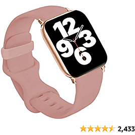 Idon Compatible for Apple Watch Bands 44MM/42MM S/M, Soft Silicone Replacement Sport Watchbands Compatible for Apple Watch Series SE/6/5/4/3/2/1 All Versions (Vintage Rose)