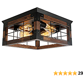 JHLBYL Farmhouse Wood Flush Mount Ceiling Light,Black Metal Rustic Close to Ceiling Lighting Industrial Square Wire Cage Ceiling Light Fixture with 4 E26 Blub Socket for Farmhouse Kitchen Dining Room