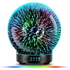 US $34.67 15% OFF|3D Glass Aroma Diffuser,Aromatherapy Ultrasonic Essential Oil Version Air Humidifier,Modes Firework 100ml 7Color Changing Lights|Humidifiers| - AliExpress
