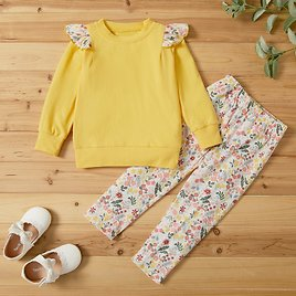 2-piece Baby / Toddler Floral Print Long-sleeve Top and Pants Set