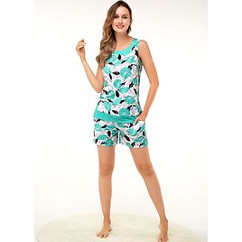 Clearance ROTITA Wide Strap Blue Printed Tank Top and Shorts