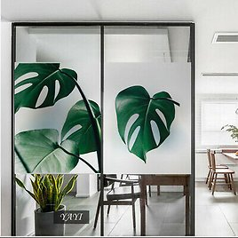 Monstera Leaves Pineapple Window Film Frosted Static Cling Cover Glass Stickers