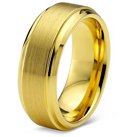 Tungsten Wedding Band Ring 8mm for Men Women Comfort Fit 18K Yellow Gold Plated Step Beveled Edge Brushed Polished Lifetime Guar