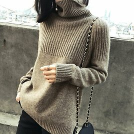 Women Cashmere Sweater Turtleneck Knitted Pullover Warm Female Sweater CA