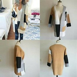 Coat Cardigan Knitted Loose Chunky Jumper Long Sleeve Oversized Sweater Womens