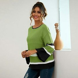 Pullover Long Sleeve Knitted Knit Shirt Womens Sweater Knitwear Casual Loose