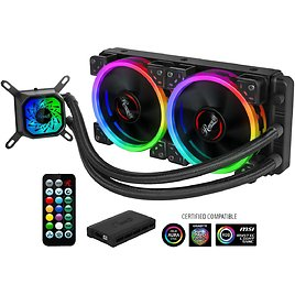Rosewill RGB CPU Liquid Cooler, Closed Loop PC Water Cooling, Quiet Addressable RGB Ring Fans, Intel/AMD Compatible