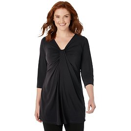 Woman Within Women's Plus Size Twist-Front Tunic