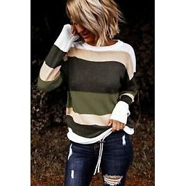 Shoulder T-Shirt Tops Colorful Striped Solid Hollow Women's Girl Students
