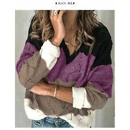 Hollow Colorful Girl Loose Knit Sweatshirt Long Sleeve Knitted Students Sweaters