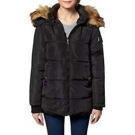 Madden Girl Women's Quilted Faux Fur Trim Hooded Convertible Winter Puffer Coat