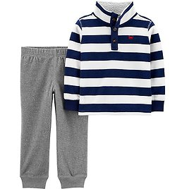 Carter's® 2-Piece Fleece Pullover and Jogger Pant Set in Blue