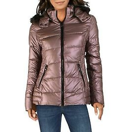 Nanette Lepore Women's Faux Fur Trim Quilted Warm Winter Insulated Puffer Coat