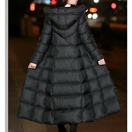 Lady Long Puffer Coats Jacket Hooded Padded Quilted Outerwear Winter Warmer Slim