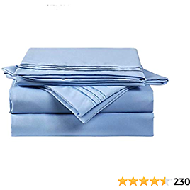 """MAEVIS Sheet Set Hotel Luxury 18"""" Deep Pocket, 100% Polyester Microfiber Smooth Bedding, Super Soft Hypoallergenic Breathable, Resistant Fade Stain Wrinkle-4 Piece (Queen, Lake Blue)"""