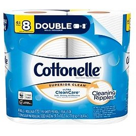 Cottonelle Ultra CleanCare Toilet Paper, Strong Bath Tissue, Septic-Safe, 4 Double Rolls