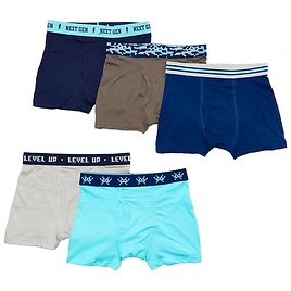 Turquoise & Gray Logan Five-Pair Boxer Brief Pack - Boys