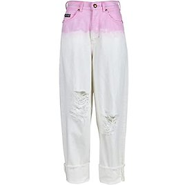 Degrade Barrel Destructed Jeans with Cuffed Hem in Rose Wild Orchid