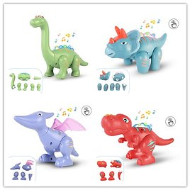Dinosaur Toys Magnetic Building, Touch Recording Talking Dinosaurs with Sound Light