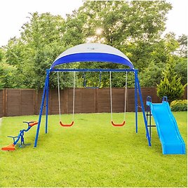 6 Station Swing Set with Seesaw and Canopy Metal Swing Set