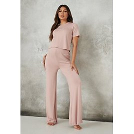 Rose Missguided Script Maternity Top and Pyjama Bottoms Set