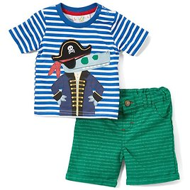 Navy Stripe Pirate Tee & Green Shorts - Infant