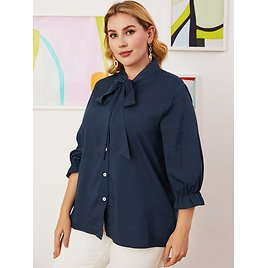 Solid Color Lapel Lantern Sleeve Knotted Shirt for Women