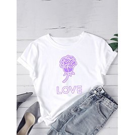 Casual Print O-neck Short Sleeve Plus Size Cotton T-shirt for Women