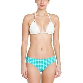 Coco Rave Never Too Much Blue Plaid Knotted Bikini Bottom~1414373760