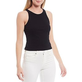 Chelsea & VioletCropped Racer Ribbed Knit Top