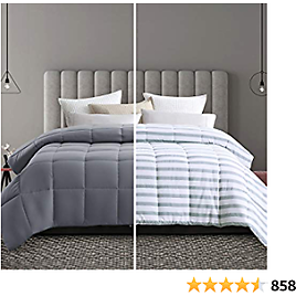 MAEVIS Soft Queen/Full Size Comforter All Season Lightweight Quilted Down Alternative Fluffy Graystripe Comforter Skin Friendly Breathable Cooling Hypoallergenic Microfiber Filling