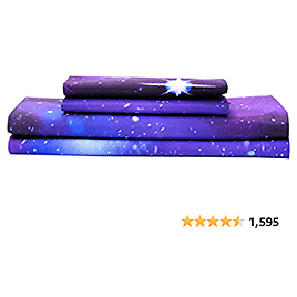Bedlifes Galaxy Sheets Outer Space Sheet Set Galaxy Themed Sheets 4 Pcs Flat Sheet& Fitted Sheets with 2 Pillowcases(Purple Full)