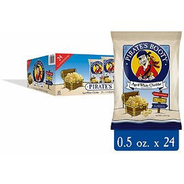 Pirate's Booty Baked Puffs, Aged White Cheddar, 0.5 Oz, 24 Ct Snack Bags