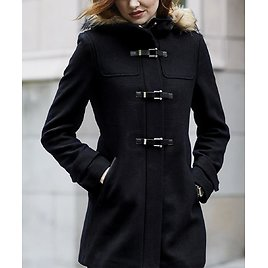 Love This Product Black Buckle-Accent Wool-Blend Hooded Coat - Women