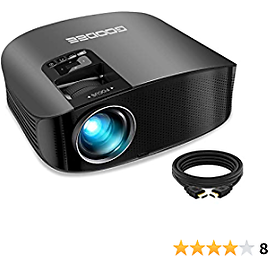 """Projector, GooDee 2021 Upgrade HD Video Projector Outdoor Movie Projector, 230"""" Home Theater Projector Support 1080P, Compatible with Fire TV Stick, PS4, HDMI, VGA, AV and USB (Renewed)"""