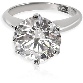 Pre-owned Tiffany Ladies Platinum 5.02 CT Round Cut White Diamond Solitaire Ring Size 6