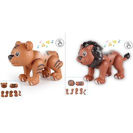 Lion/Tiger Magnetic Build Animal Toys, Touch for Recording Talking with Sounds Light