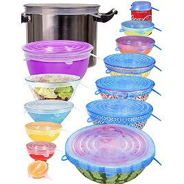 14 Pack Include 2Pcs Silicone Stretch Lids XXL Size Up to 9.8'' Diameter, Reusable Durable Food Storage Covers for Bowl