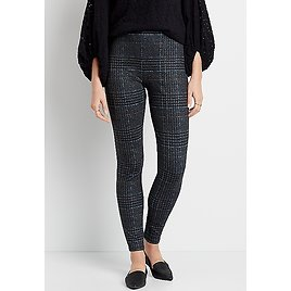 High Rise Houndstooth Pull On Slimming Ponte Legging