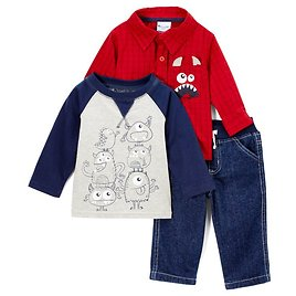 Red & Blue Monsters Button-Up Set - Boys