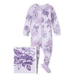 Baby And Toddler Girls Mommy And Me Long Sleeve 'Beautiful Like Mom' Floral Print Matching Snug Fit Cotton One Piece Pajamas