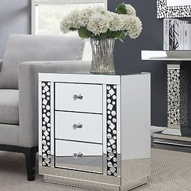 Furniture of America Stacy Silver Mirrored 3-Drawer Side Table