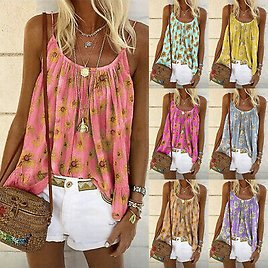 Fashion Women Casual Floral Tank Sleeveless Camisole Vest Blouse Tops Tee