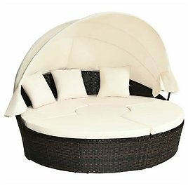 Rattan Adjustable Cushioned Canopy Daybed