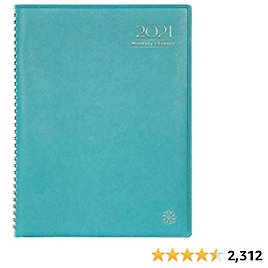 """2021 Monthly Planner/Calendar - Monthly Planner 2021 with Tabs, Leather Calendar Planners, Twin-Wire Binding and Double Side Clear Inner Pocket 9"""" X 11"""", Plain/Blank Writing Blocks"""