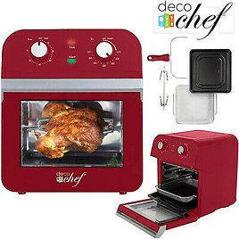 Deco Chef AirFryer XL 12.7QT Power Air Fryer Oven 7 Cook Features Rotisserie Red 840133929218