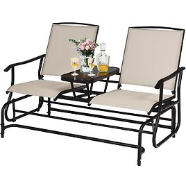 Costway 2 Person Patio Double Glider Loveseat w/Center Table